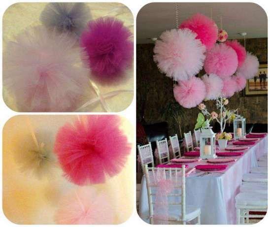 Pompony tiulowe <3  dekoracje ślubne