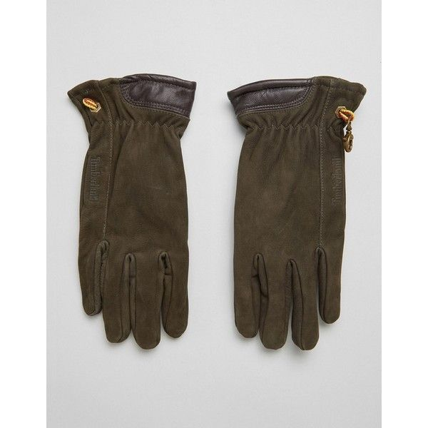 Timberland Nubuck Boot Leather Glove in Brown ($79) ❤ liked on Polyvore featuring men's fashion, men's accessories, men's gloves, brown, mens brown leather gloves, timberland mens gloves, mens leather accessories and mens leather gloves