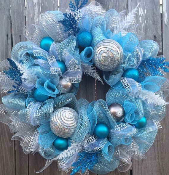 Breathtaking Frozen Wreath Blue & Silver Dream by BaBamWreaths
