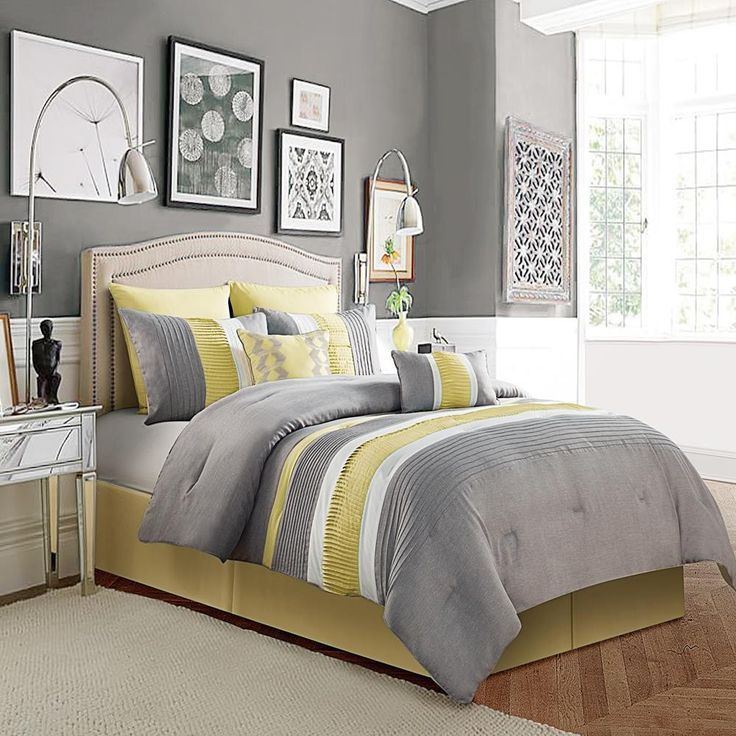 luxury home lawrence 8 piece comforter set size queen color yellow