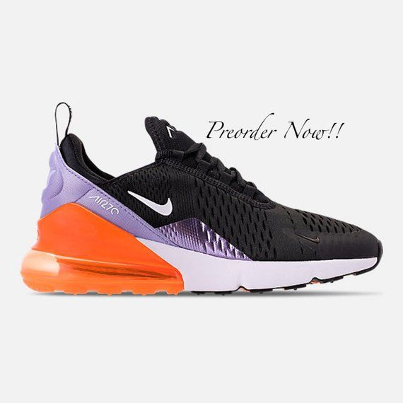Swarovski Women s Nike Air Max 270 Black Purple Orange Sneakers Blinged Out  With Authentic Clear Swarovski de348e8fc