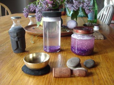 Meditation Jar.  Add glitter, glue, and hot water.  Shake and watch the glitter slowly swirl around.