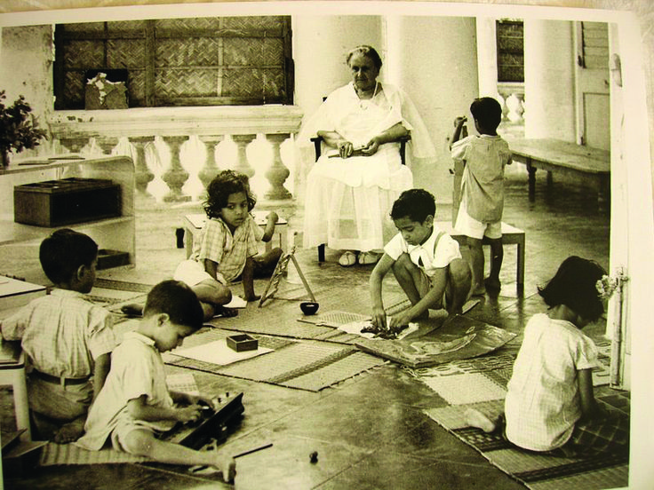 Maria Montessori Conducting A Class In Adiyar