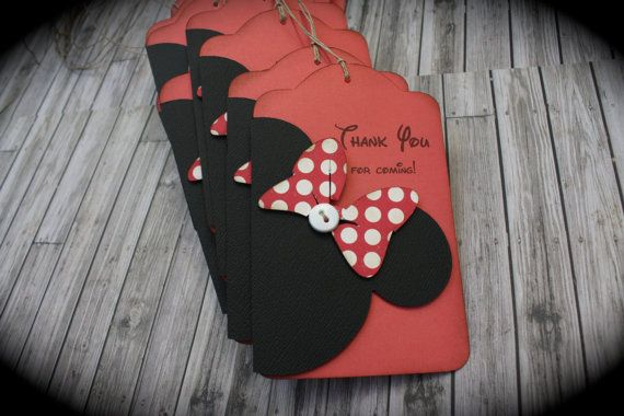 MINNIE Mouse Thank You tags....VINTAGE pink or by kutekardz, $14.95