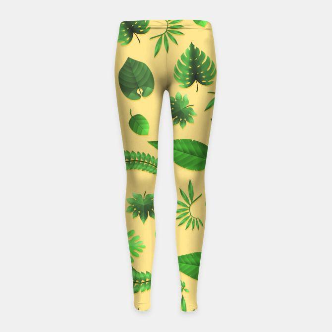 Tropical Leaves Girl's Leggings, Live Heroes