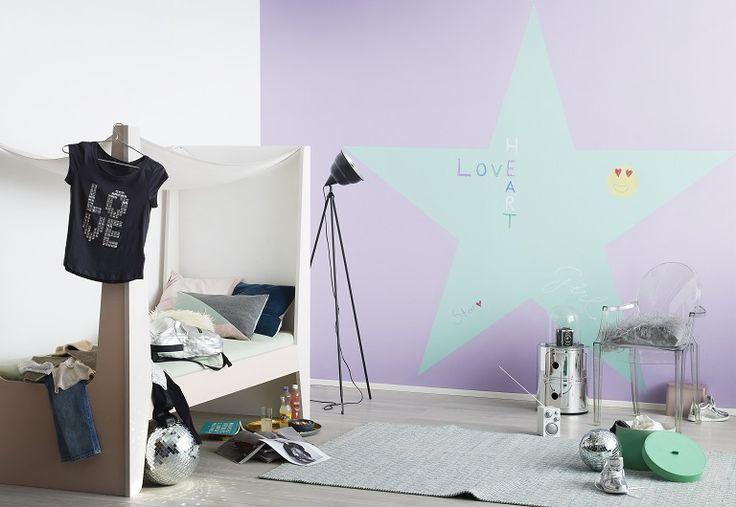 Sinä olet tähti! Liitu-maalilla voit tehdä haluamasi liitutaulun mallin ja sävyn voit valita itse. Lovely chalk board with Tikkurila Liitu paint.