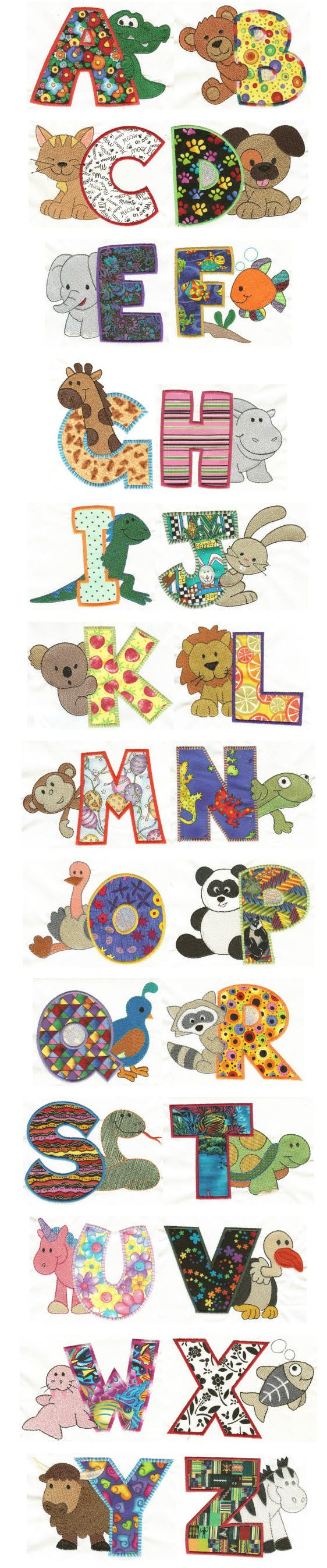 DesignsByJuJu Search DBJJ372 Cute Critters Applique Alphabet