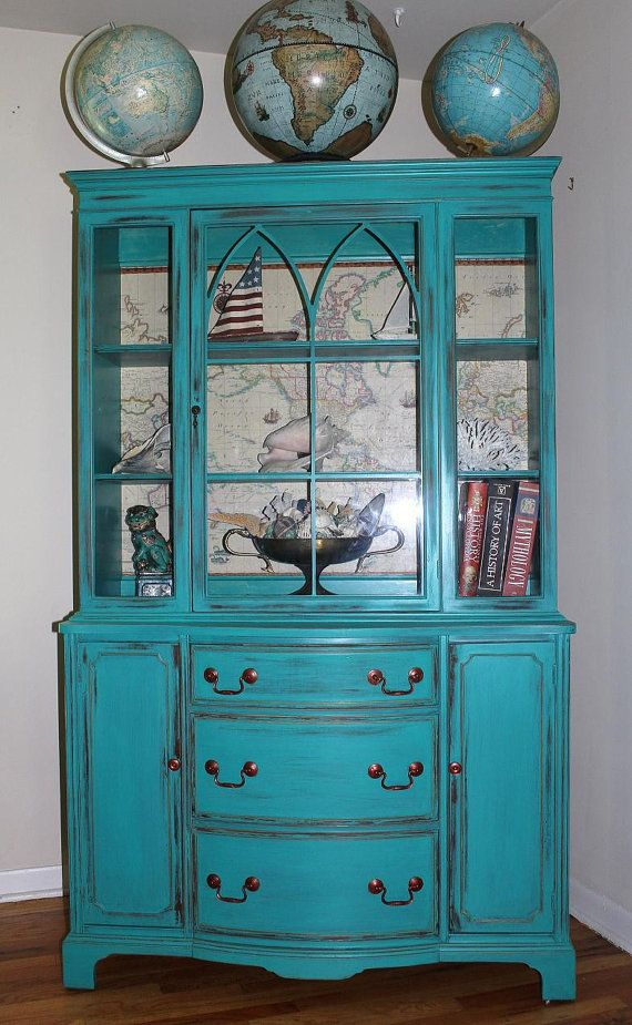 by cabinet teal furniture on tiffany china painted hutch blue paint vintage chalk rustic