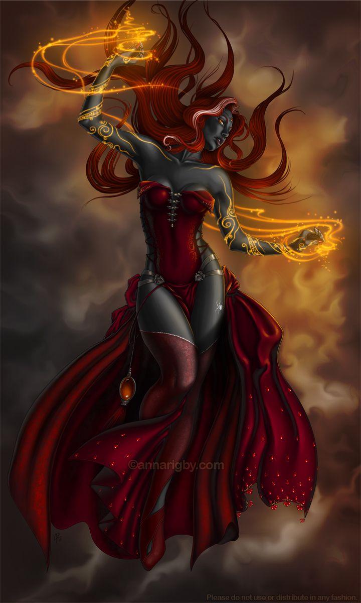redhead witch with dark green eyes