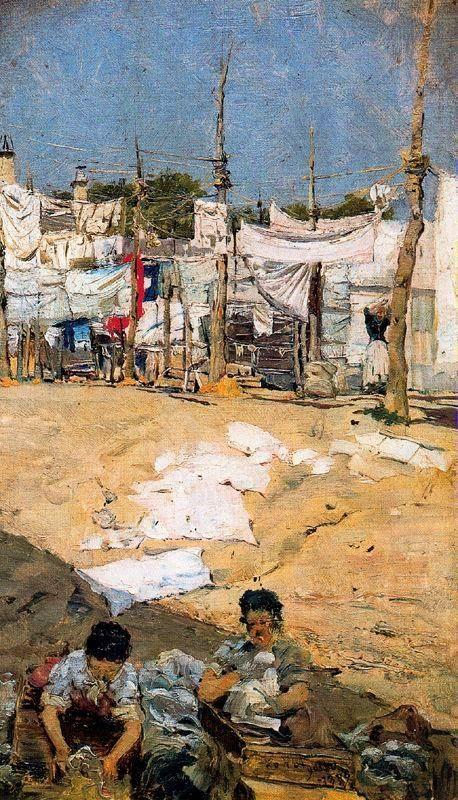 """""""Lavanderas"""" (1879), pintado por Casimiro Sainz y Saiz , (1853 – 1898)"""