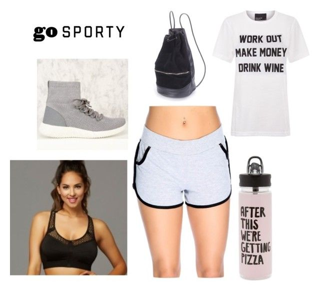 """Sporty Chic"" by amiclubwear ❤ liked on Polyvore featuring Private Party, ban.do, SHORTSHORTS, backpack, sneakers, sportsbra and amiclubwear"