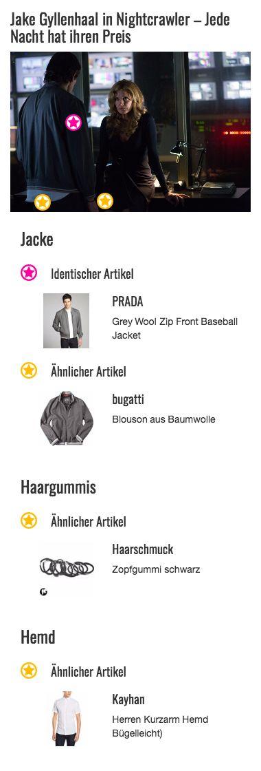 Eines der liebsten Kleidungsstücke von Louis Bloom alias Jake Gyllenhaal ist wohl die graue Baseball-Jacke von PRADA. Er scheint Gefallen an dem Retro-Style seines Outfits gefunden zu haben.