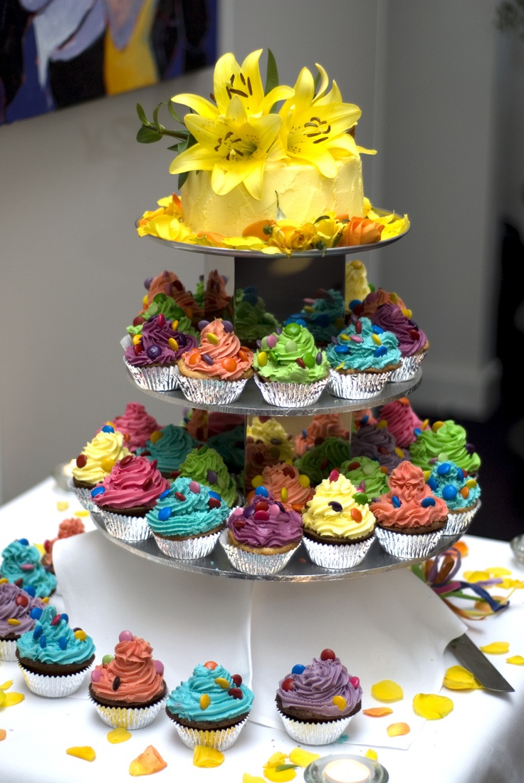 Our wedding cupcakes; from our rainbow wedding on mardi gras weekend in Daylesford, Australia
