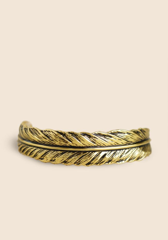 Feather Cuff Bracelet By Timi at #Ruche @Ruche  #Timi #Feather #Style #Gold #Bracelet #Accessories