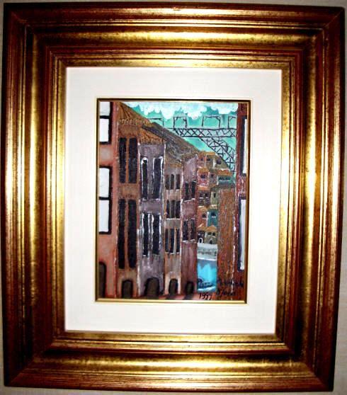 Vista de Gaia, tendo como fundo a Ponte D. Luís e Ribeira.   Uma das primeiras obras da pintora Adelaide Moça  Pintado a óleo sobre tela.   Tamanho: 18*24 com Moldura 46,50*41,50 cm