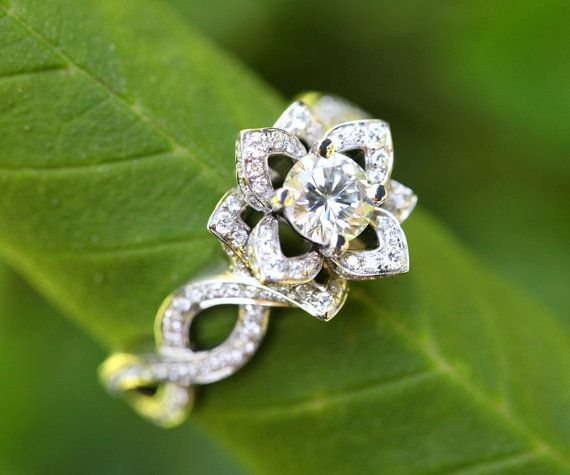 LOVE IN BLOOM - Ready to Ship - Flower  Lotus Rose Diamond Engagement or Right Hand Ring - 14k white Size 7 -fL03. $5,500.00, via Etsy.