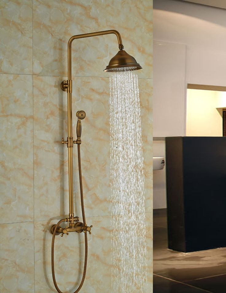 Wholesale And Retail Modern Antique Brass Round Rain Shower Head Faucet Dual Cross Handles Shower Sprayer Mixer Tap