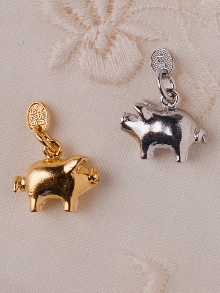 Silver Plated Charm - Dov the Pig by #AmericanApparel. #charms #sliver #gold #pig