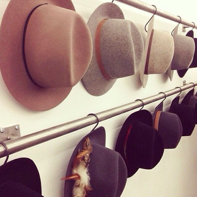 Like to storage option of this. Maybe on wrought iron bars or wooden rails...Hats make any outfit instantly better