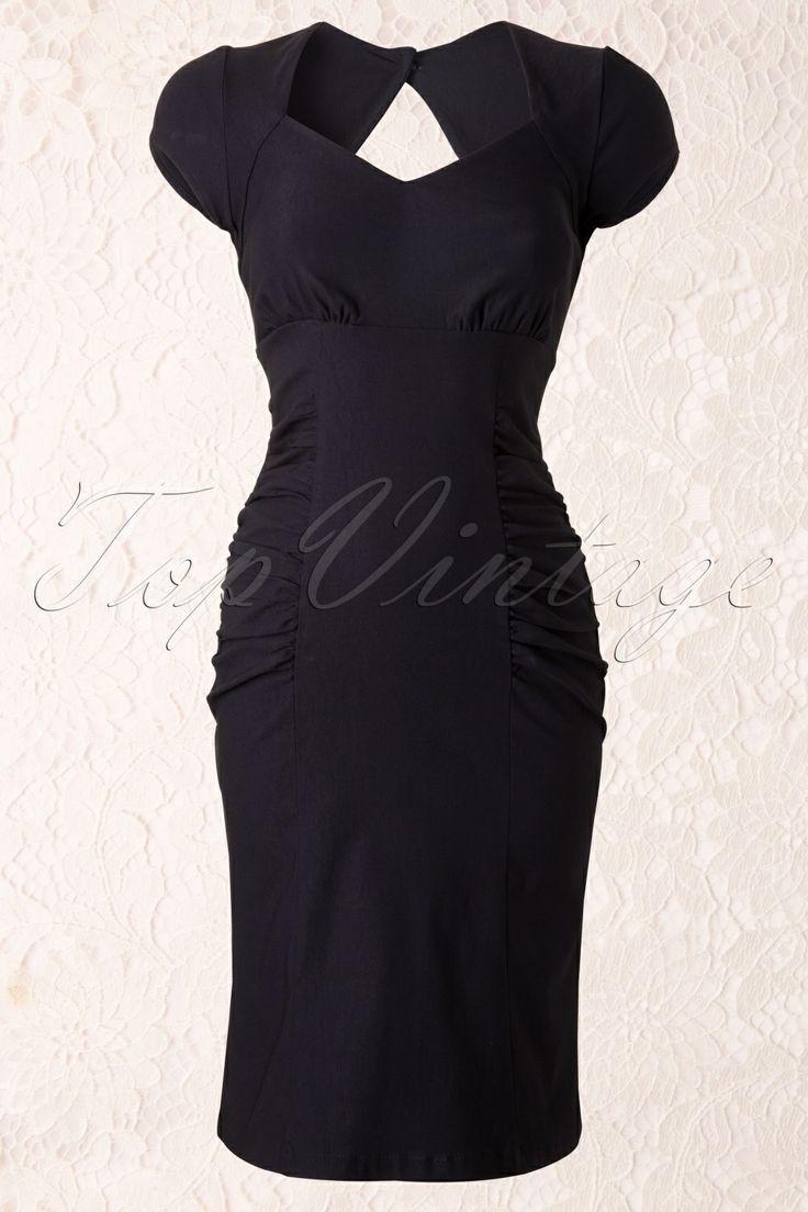 Steady Clothing - 50s Allison Pencil Dress Navy