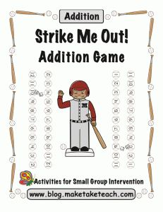 Free fun little baseball-theme addition game.  Practice math facts to 12.