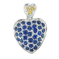 Blue and yellow sapphire white gold heart pendant
