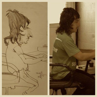 How to Draw Caricatures - ArtistDaily. A caricature of Manny with a photo showing what I was working from.