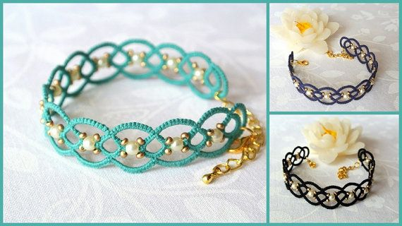 Beaded lace armband | tatted kant armband gemaakt in Italië | Tatting sieraden | vezel sieraden |frivolité