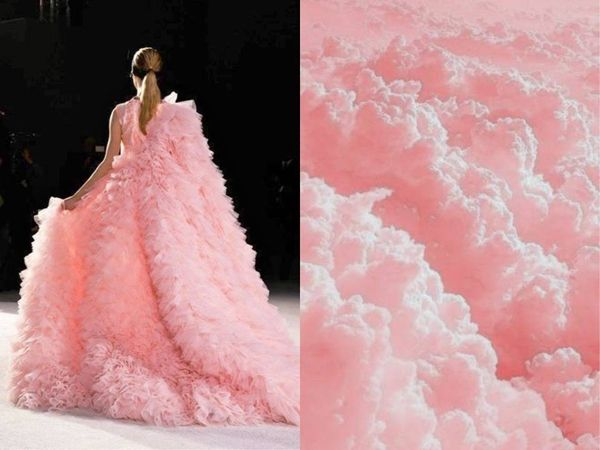 #Couture  Based on Sketches of #Nature by #LiliyaHudyakova Dress/Gown has the luscious look of fluffy Pink clouds or spun Cotton Candy