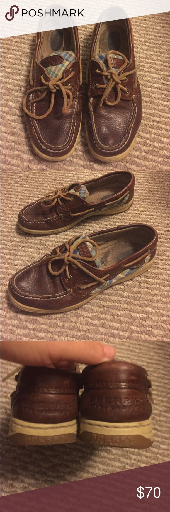 2 items for $12! SALE! Blue plaid sperry boat shoe Sperry topsider boat shoes in dark brown with blue plaid accents. Decent used condition with lots of life left. Some normal wear & tear as shown. Sperry Shoes