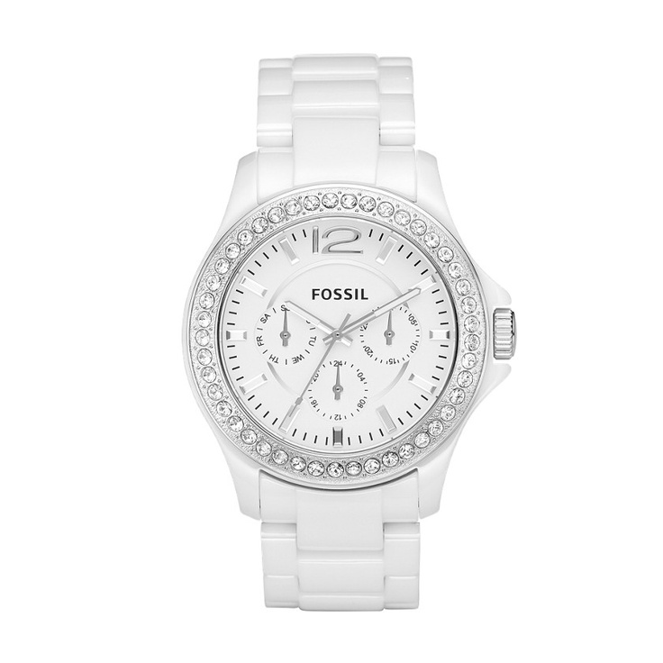 Ladies white ceramic Fossil Watch with crystal bezel. IN-STOCK NOW at BECKER JEWELERS!