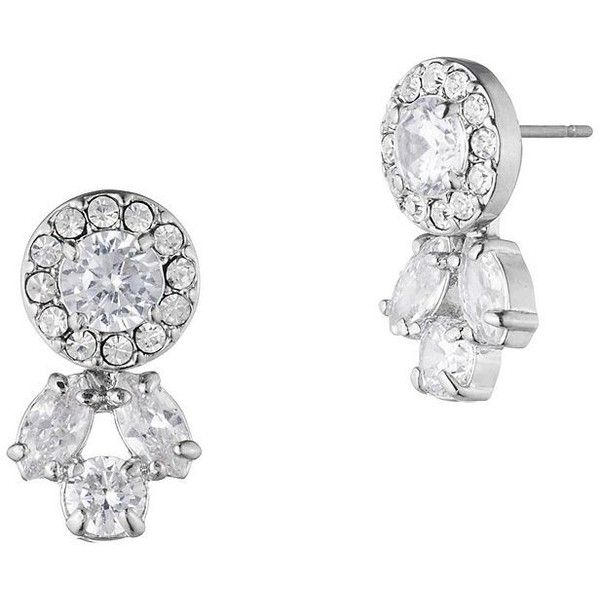 Carolee Crystal Small Chandelier Stud Earrings ($75) ❤ liked on Polyvore featuring jewelry, earrings, silver, silvertone jewelry, nickel free earrings, nickel free stud earrings, carolee jewelry and silvertone earrings