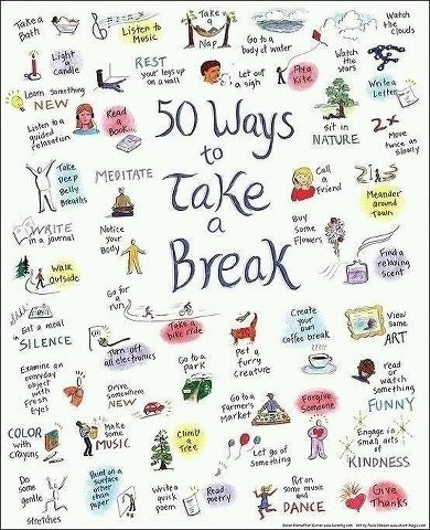 70 best woosa images on pinterest mental health mindfulness and 50 ways to take a break nice reminder to calm down fandeluxe Images