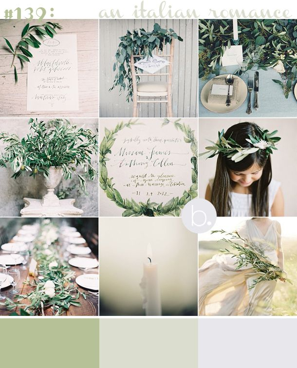 Tuscan romance inspiration board with olive green
