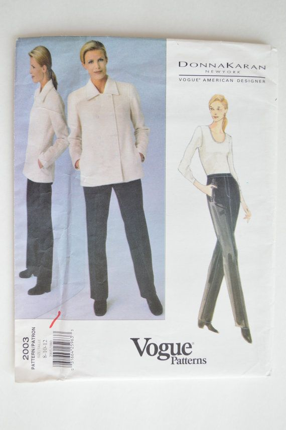 SALE - Was 10.00 - 1990s UNCUT Vogue Donna Karan DKNY Pattern 2003 Double-Breasted Jacket and Straight Pants Size 8-10-12