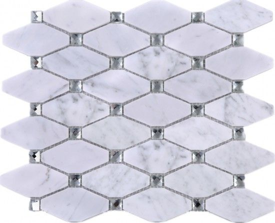 Large Diamond White Carrara Marble Mesh Mounted Mosaic Tile Whca