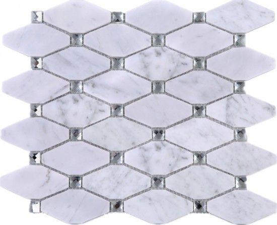Large Diamond White Carrara Marble Mesh Mounted Mosaic Tile Whca
