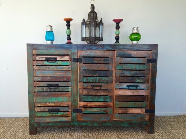 900mm high x 1260mm wide x 450mm deep.  A rustic sideboard made from mango wood has 3 drawers and 2 doors. A great way to display your favourite ornaments and to keep other things stored away. Will suit many decor schemes.  Free delivery in Rotorua. Please enquire about shipping within NZ.