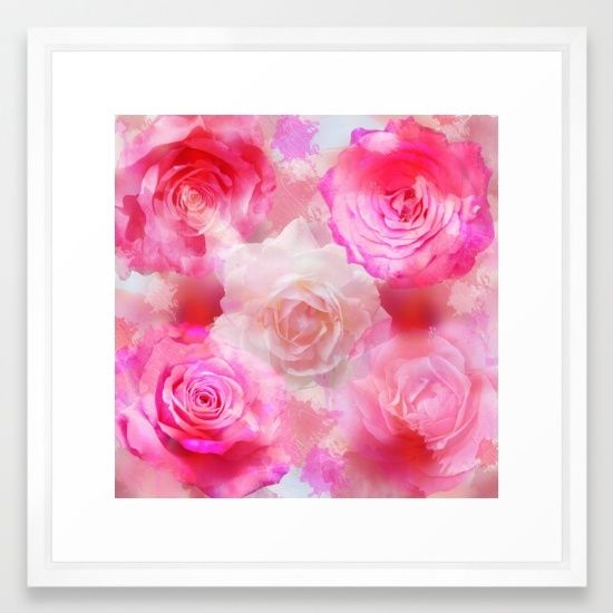 Painterly Romantic roses in pink, red and cream Framed Art Print