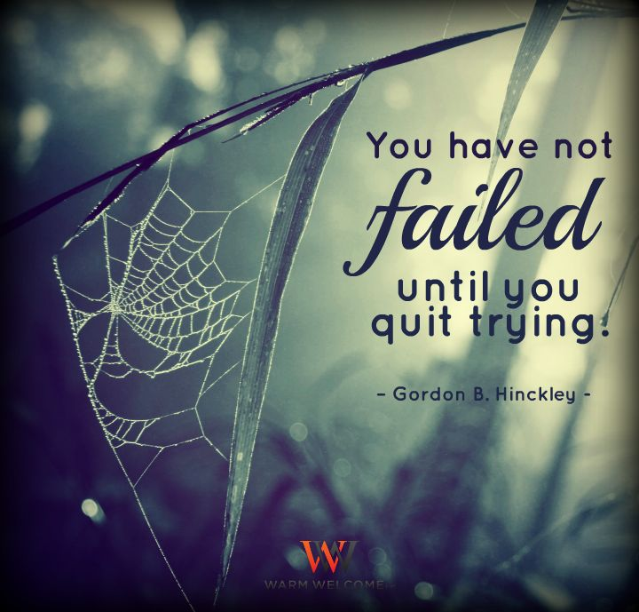 You have not failed until you quit trying.' Gordon B. Hinckley   #WarmWelcome #WarmWelcomeLLC #QuoteOfTheDay #QuoteOfTheNight #InspirationalQuotes #Inspiration #Inspire #MotivationalQuotes #Motivation #Motivate #Truth #WordsToLiveBy #LivingLife #SocialMedia #Wisdom #Knowledge #DoNotQuit #GordonBHinckley