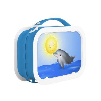 Baby Dolphin playing with sun cartoon digital illustration custom template animal aquatic