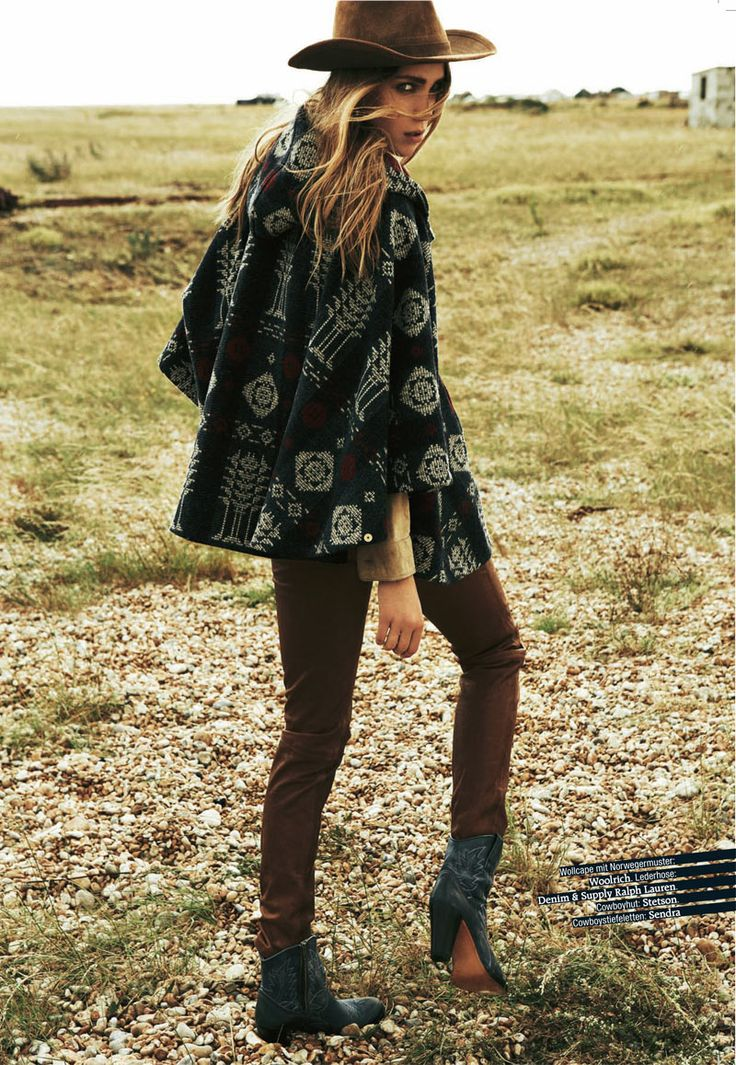 Dasha Sushko is Cowgirl Chic for Grazia Germany, wearing Woolrich wool cape with norwegian pattern