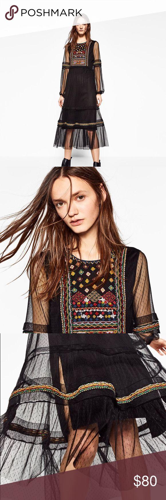 Zara Plumetis embroidered dress Beautiful dress sold out everywhere Zara Dresses Midi