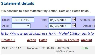 Here is my #14 Withdrawal Proof from Ad Click Xpress.  I get paid daily and I can withdraw daily. Online income is possible with ACX, who is definitely paying - no scam here. I WORK FROM HOME less than 10 minutes and I manage to cover my LOW SALARY INCOME. If you are a PASSIVE INCOME SEEKER, then AdClickXpress (Ad Click Xpress) is the best ONLINE OPPORTUNITY for you. Join for FREE and get 10$ for Tripler value packs from ACX . Make 2% Per Day - Easy!