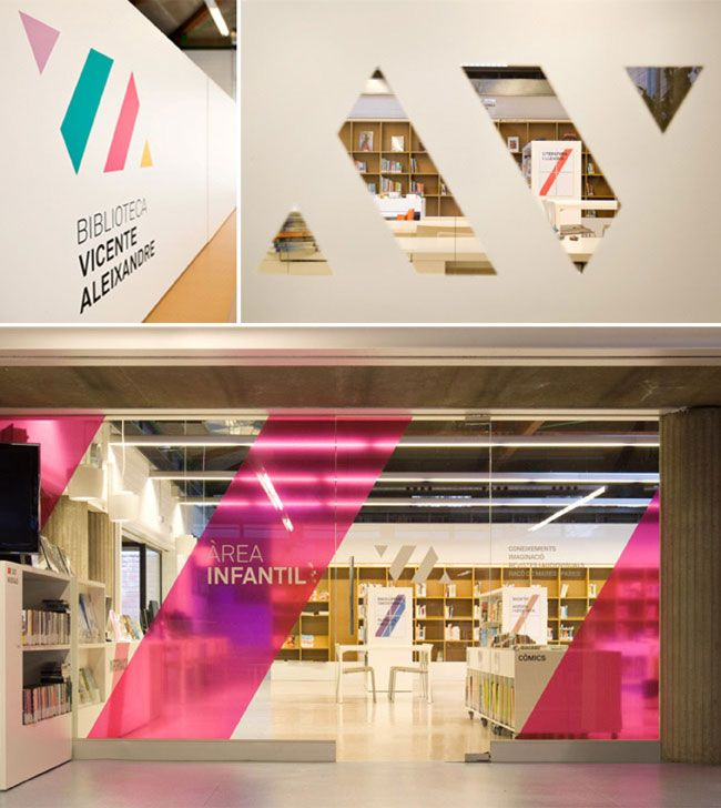 Vibrant new identity with wall window graphics for vicente aleixandre library in badia del vallès spain designed by studio txell gràcia