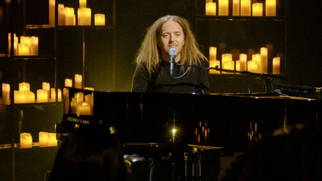 """Late Late Show guest host Bryan Cranston welcomes Tim Minchin to perform James Corden's favorite Christmas song, """"White Wine in the Sun."""""""