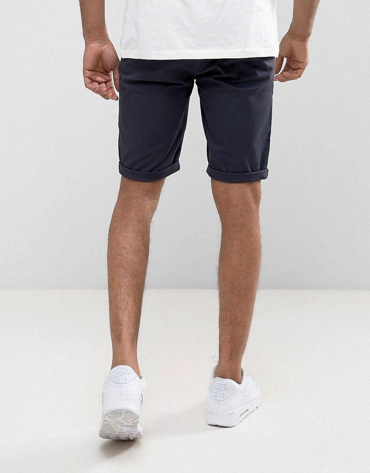 ASOS TALL Chino Skinny Shorts In Navy - Navy