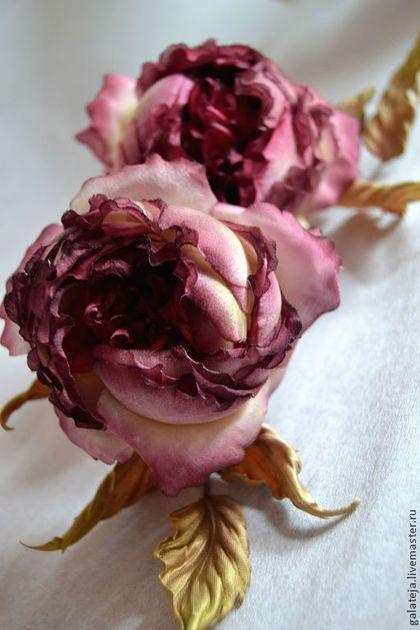 Купить Цветы из шелка Роза Селестина - бордовый, роза, брошь цветок, брошь ручной работы
