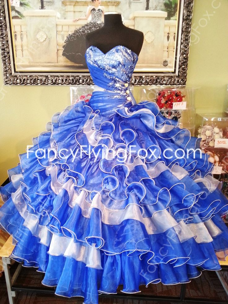 Sweetheart Royal Blue And White Ball Gown Floor Length
