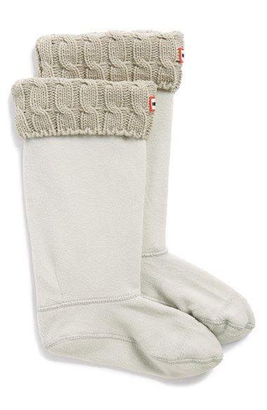 Hunter Original Tall Cable Knit Cuff Welly Socks (Women) at Nordstrom.com. Cozy sweater-knit cuffs top soft fleece socks designed to add warmth and comfort to your favorite rain boots.